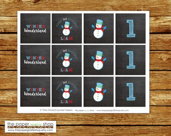 Snowman Cupcake Toppers | Snowman Birthday Party | Boys Birthday Party | Winter Party | Winter Wonderland | Snowman First Birthday Party