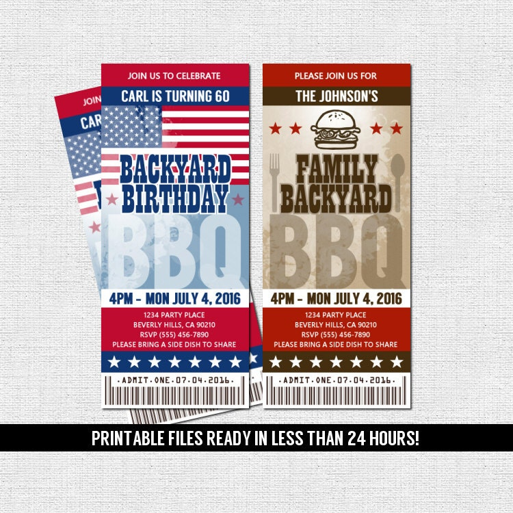 BBQ TICKET INVITATIONS Printable Files Barbeque Birthday