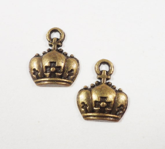 Bronze Crown Charms 12x10mm Antique Brass Crown Charm, Small Crown Pendants, Jewelry Charms, Bracelet Charms, King Charms, Queen Charms 10pc