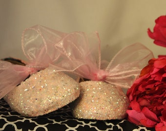 Wedding Shoes~Flower Girl Shoes~Hot Pink Glitter with Bows~Bubble Gum Pink~Blush Pink~for Bride and/or Flower Girls!