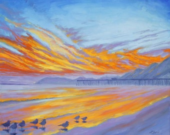 Ceramic Art Tile: Pismo Beach Sunset, CA