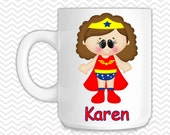 Wonder Women Kids Mug - Personalized Wonder Women Mug - Customized Mug - Melamine Cup - Personalized Kids cup