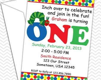 Hungry Caterpillar Invitations PRINTABLE - Birthday Party - Baby Shower - Transportation