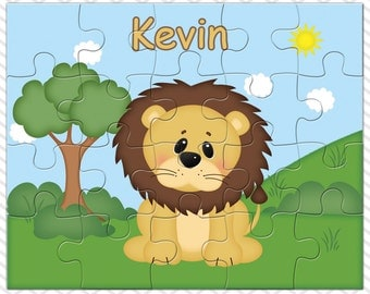 Lion Personalized Puzzle, Personalized Lion Puzzle, Personalized Kids Puzzle