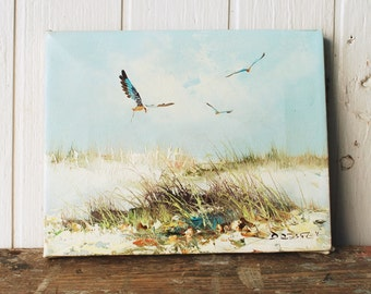 Oil Painting on canvas, beach, ocean painting, original vintage. Beach decor or cottage decor.