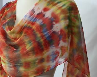 "Wearable Art Pure Silk Chiffon Scarf OOAK Hand Dyed Red Orange Lime Lemon Blue 14""x72"""