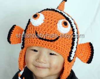 Finding Nemo hat, Clown Fish Hat, Crochet Baby Hat, Animal Hat, Orange, photo prop, Inspired by Finding Dory