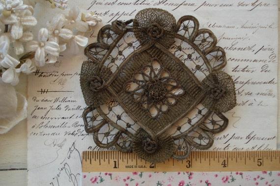 Antique c1900's French Gold Metal Thread Metallic Large Intricate Ribbonwork Flower Lace Applique Textile Trim Victorian Flapper Boudoir