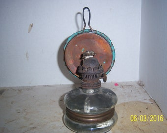 1880's Clear Glass Oil Lamp Light  8 inches tall