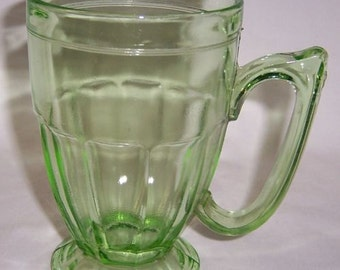 Jeannette Translucent Green 5 1/2 Inch High FOOTED Number 516 MUG