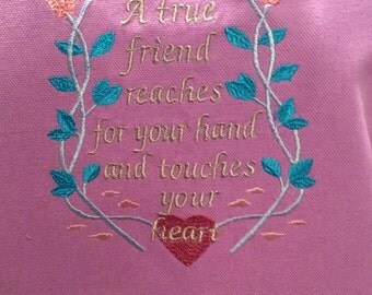 """Embroidered Apron - """"A True Friend"""" - Full Apron- Large Pockets - Ties at the Neck and Back"""