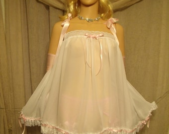"""White Chiffon BabyDoll Nightie Gown Adult Baby Sissy, CD Drag Cosplay Chest 50""""-54"""" XXL Lingerie Baby Doll"""