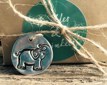 Fine Silver Elephant Charm, PMC elephant Pendant