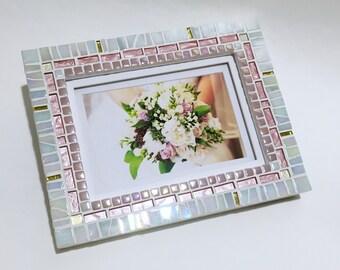 unique photo frame pink white decor mosaic picture frame wedding gift nursery - Unique Picture Frames