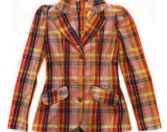70s Plaid Lightweight Blazer