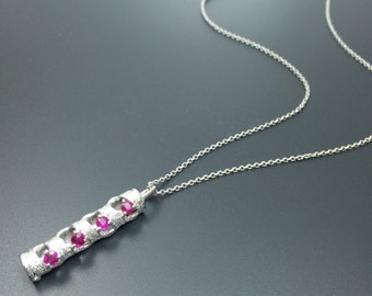 Silver ruby necklace Cylinder necklace Minimalist jewelry