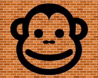 Monkey Face SVG File Instant Download Birthday Shirt SVG Monkey Party Theme Design SVG Zoo Svg