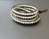 Shell  Leather Wrap  Bracelet/Anklet
