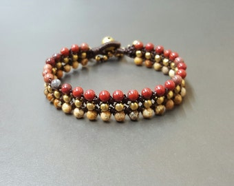 Triple Jasper  Brass  Bracelet