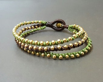 Triple Green Dark Brown Brass Bracelet