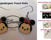 Mouse Tsum Minnie Earrings -CHOICE- Handmade Steel Hypoallergenic Leverback French Hook Post Pierced OR Clip On
