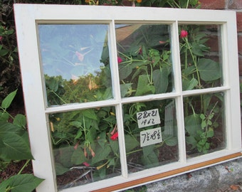 28 x 21 Vintage  Window sash old 6 pane from 1962 Arts& Crafts