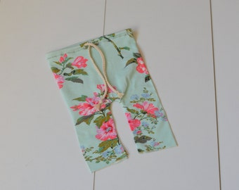 Newborn stretch flowery pants minty green with pink flowers NB baby girl photo prop