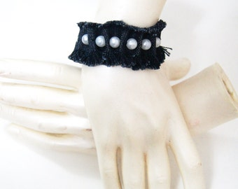 FREE Shipping White Bead  Ruff Edged Denim Blue Jean Bracelet, Denim Bracelet Cuff , Recycled Blue Jean Bracelet,