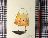 """Halloween Watercolor Painting """"Candy Corn"""", 5x7 inches decoration."""