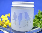 Glass Jar, Sandblasted Bird Glass Jar, Stash Jar, Spice Jar, Frosted Glass Jar, Baby Food Jar