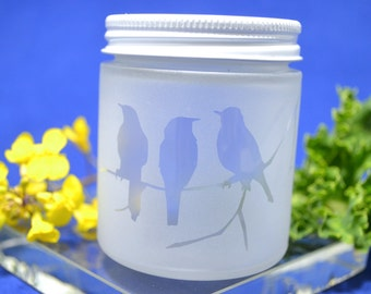 Glass Jar, Sandblasted Bird Glass Jar, Stash Jar, Spice Jar, Frosted Glass Jar, Baby Food Jar