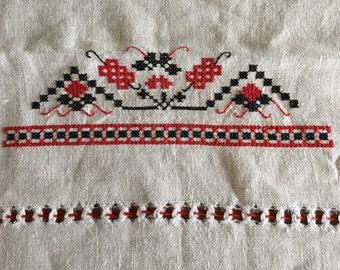 Hand Embroidered Vintage Tea Towel