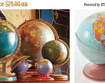 """ON SALE Ohio Art, World, Globe, 1962, World Bank, Bank, Tin Globe, 4"""", World Globe, Vintage, Made in USA, Child's, Litho, Map, Blue, Ye"""