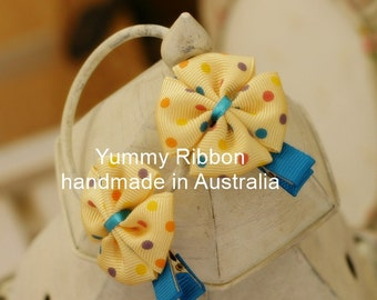 A pair baby clip,lovely girls hair accessories,kids hair accessories,baby hair accessories,toddler hair accessories,yellow ribbon bow clip