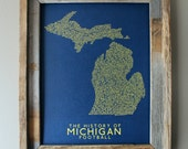 The History of Michigan Football - University of Michigan - Word Map (Maize & Blue) - Unframed