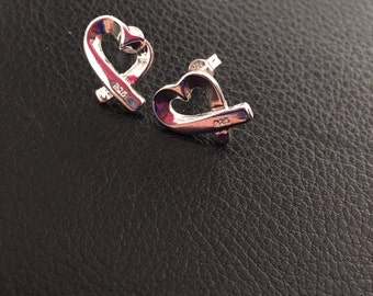 925 sterling silver heart studs