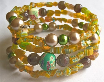 Cheerful Yellow Memory Wire Bracelet: Blush Pink & Green Glass Pearls, Flower Polymer Clay Glass Beads, Yellow Millefiori Glass Chips