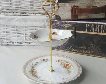 2 tier vintage fine china cake stand/jewellery/make up organiser