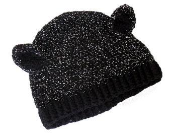Sparkly Black Cat Hat Crochet Womens Kitty Ears Beanie Metallic Cat Ear Glitter Animal Hat with Ears Spooky Halloween Hat Cute Girls Beanie