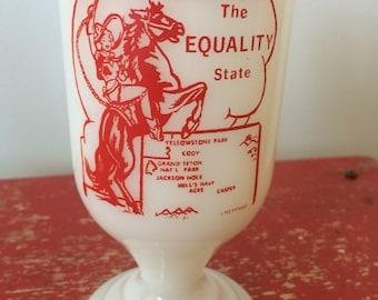 Wyoming Milk Glass Pedestal Mug