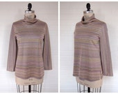 vintage multicolor striped and sparkly turtleneck TUNIC