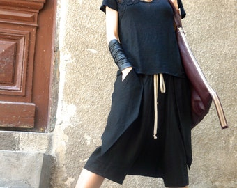 NEW SS/16 Loose Casual  Black Drop Crotch Linen  Harem Pants / Extravagant Black Pants with Large Pockets by AKASHA A05462