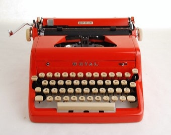 Red Typewriter, Royal Quiet Deluxe, 1950s