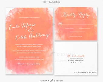 Coral Wedding Invitation & RSVP Postcard - Printed, Watercolor Orange Peach Destination Beach Bridal Shower Engagement Pink Calligraphy #W09