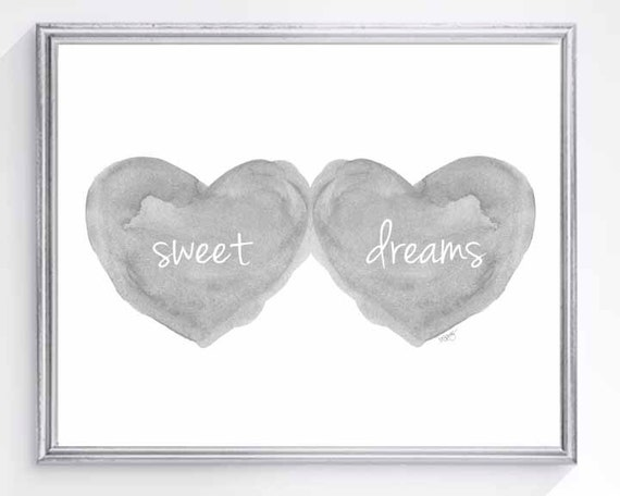 Sweet Dreams Gender Neutral Baby Decor in Gray, 8x10
