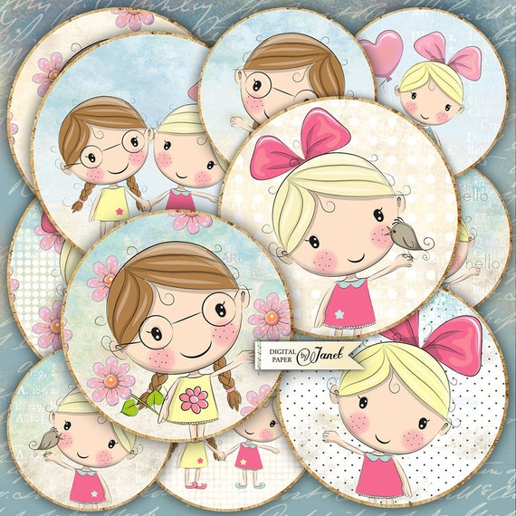 Cute Girls - 2.5 inch circles - set of 12 - digital collage sheet - pocket mirrors, tags, scrapbooking, cupcake toppers