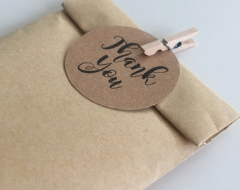 50 x Kraft Paper Bags with Mini Pegs and Thank you tags