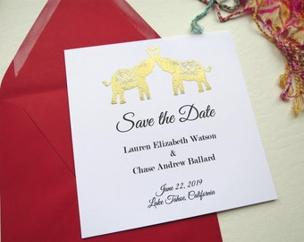 Heart Elephants Wedding Save the Date - Style 110