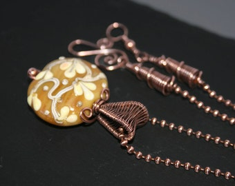 Copper Wire Wrapped Necklace Mustard Lampwork Pendant Handmade