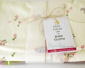 Organic Burp Cloth Set in Bloom